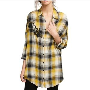 Anthropologie Tops - Anthropologie Maeve Yellow Plaid Oversized Top